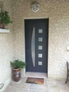 Porte d'entrée en Aluminium Gris Anthracite